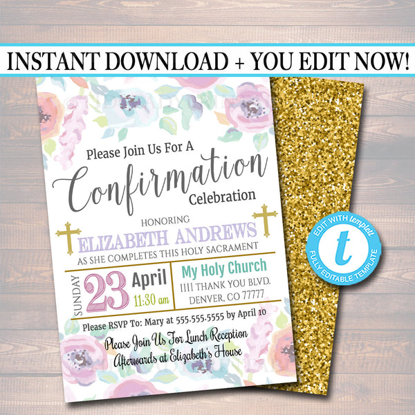 EDITABLE Confirmation Invitation, Christian Religious Invite, Diy Baptism, Girl Communion Sacrament Party Announcement INSTANT DOWNLOAD