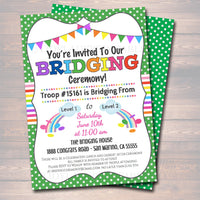 Bridging Invitation INSTANT + EDITABLE template Bridging From Daisies to Brownies to Juniors Troop Bridging Ceremony, Girl Scout Printable