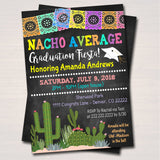 Fiesta Nacho Average Graduation Invitation, Chalkboard Printable College Graduate Taco High School Senior Graduate