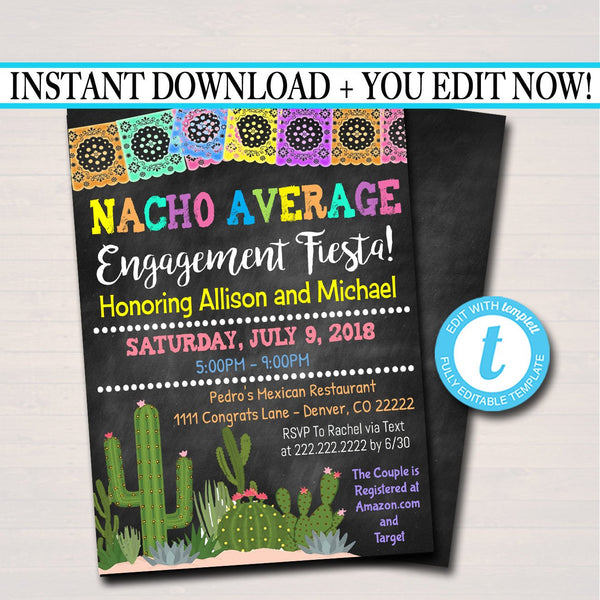 EDITABLE Engagement Fiesta Wedding Party Invitation Cinco De Mayo Bridal Shower, Couples Shower Invite, Desert Cactus Boho, INSTANT DOWNLOAD