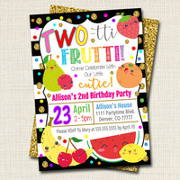 EDITABLE Two-tti Frutti Party Birthday Invitation, Girls Toddler 2 Year Old Party Digital Invite, Tutti Fruti Summer Party, INSTANT DOWNLOAD