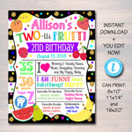 EDITABLE Two-tti Frutti Party Birthday Poster, Girls Toddler 2 Year Old Party Digital Banner Sign Tutti Fruti Summer Party, INSTANT DOWNLOAD