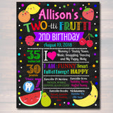 EDITABLE Two-tti Frutti Birthday Chalkboard Poster, Girls Toddler 2 Year Old Party Digital Banner Tutti Fruti Summer Party, INSTANT DOWNLOAD