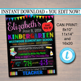 Last Day of KIndergarten Photo Prop Sign - Editable DIY Template