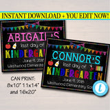 EDITABLE Last Day of School Photo Prop, Kindergarten Preschool Graduation Decor School Chalkboard Prop, Last Day of School, INSTANT DOWNLOAD
