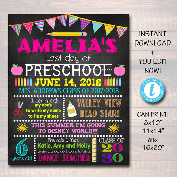 EDITABLE Last Day of School Photo Prop School Chalkboard Poster DIY Instant Download Preschool, Kindergarten Graduation, End of School Year