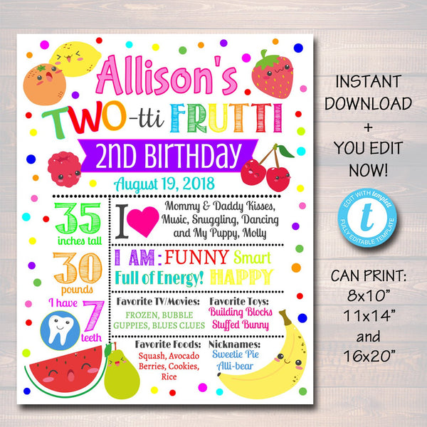 EDITABLE Two-tti Frutti Birthday Milestone Poster, Girls Toddler 2 Year Old Party Digital Banner Tutti Fruti Summer Party, INSTANT DOWNLOAD