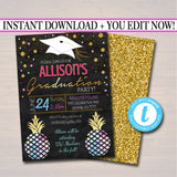 Graduation Party Invitation, High School Graduation Invitation, DIY  Invite, College Pineapple Watercolor Boho Bohemian Chic