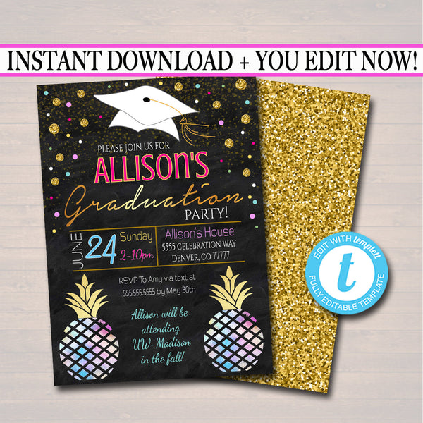 EDITABLE Graduation Party Invitation, High School Graduation Invitation, DIY Digital Invite, College Pineapple Watercolor Boho Bohemian Chic