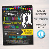 Parents Night Out Invite & Flyer - School Family Fundraiser Event - Editable DIY Template