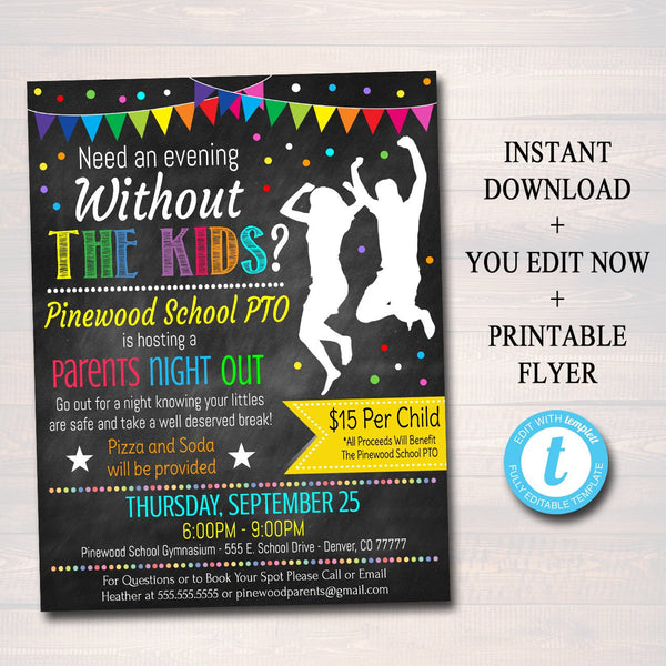 EDITABLE Parents Night Out Flyer, Printable PTA, PTO, School Family Fundraiser Event, Community Center, Church Printable Digital Invitation