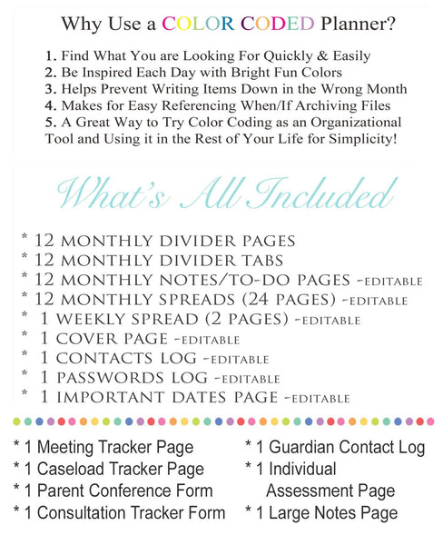 Printable Counselor Planner Editable Undated Perpetual