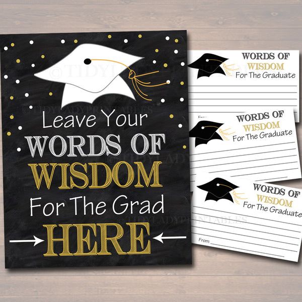 photograph regarding Free Printable Graduation Advice Cards called Commencement Bash Indication, Chalkboard Printable, Terms of Knowledge Playing cards, Grad Social gathering Invite, Suggestions for Graduate, Occasion Decor Quick Down load