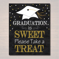 Graduation is Sweet Party Sign, Chalkboard Printable, Dessert Table Sign Grad Party Invite, Please Take a Treat Party Decor INSTANT DOWNLOAD