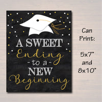 Graduation is Sweet Party Chalkboard Printable, Dessert Table Sign Grad Party Invite, Sweet Ending To A New Beginning Decor INSTANT DOWNLOAD