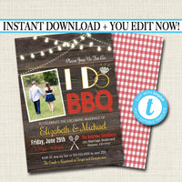 EDITABLE I Do BBQ Picnic Invitation, Bridal Couples Shower, Engagement Grill Out Celebration, Rustic Country Vintage Plaid String Lights