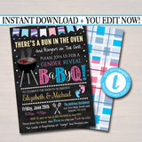 EDITABLE Gender Reveal Baby-Q BBQ Picnic Invitation, Baby Sprinkle, Couples Shower Grill Out Celebration, There's a Bun in The Oven Invite