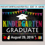 EDITABLE DATE Kindergarten Graduation Photo Prop, End of School Chalkboard Poster, Last Day of Kindergarten Printable, DIY Instant Download