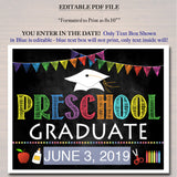 EDITABLE DATE Preschool Graduation Photo Prop, End of School Chalkboard Poster, Last Day of Preschool Printable Sign, DIY Instant Download