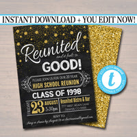 Class Reunion Invitation Template - Any Year!  College Reunion, High School Reunion Party Lights Faux chalkboard