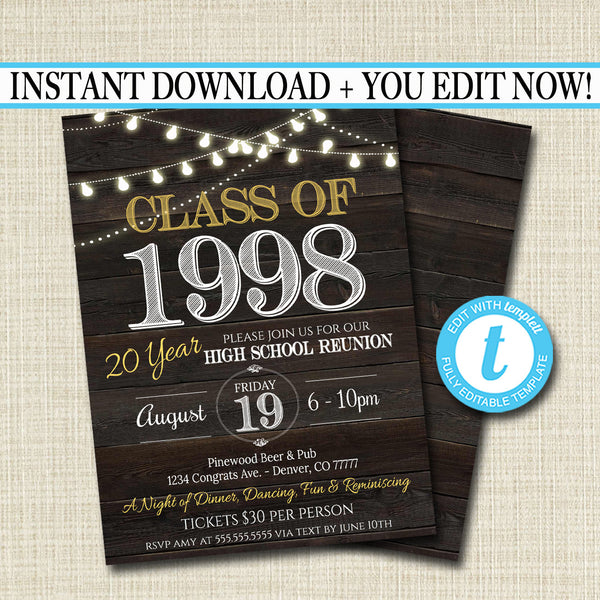 Reunion Invitation Template - Any Year!  College Reunion High School Reunion Party Lights Faux rustic wood invite