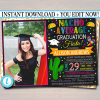 Editable Fiesta Graduation Invitation, Chalkboard Printable College Graduate Taco Nacho Invite, High School Senior Graduate INSTANT DOWNLOAD