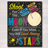 Shoot For The Moon, Land Among The Stars School Counselor Poster, Office Decor Classroom, Social Worker, Outer Space Theme Class Printable
