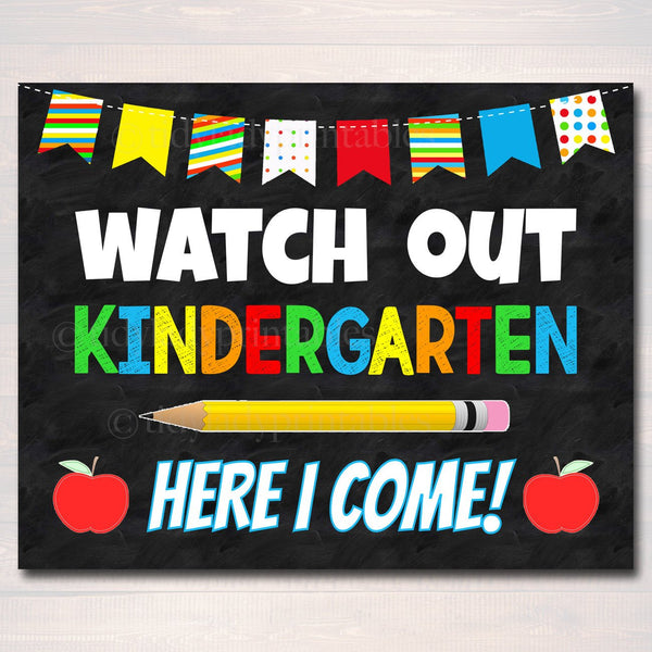 photograph relating to First Day of Kindergarten Printable referred to as Look at Out Kindergarten Below I arrive! Back again towards Higher education Printable Back again toward College or university Chalkboard Poster Faculty Signal 1st Working day of University Immediate Obtain