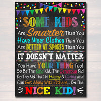 Be The Nice Kid Printable Poster, Kindness Art, School Counselor Poster, Social Worker Office, Teacher Classroom Poster Decor, Anti-Bullying
