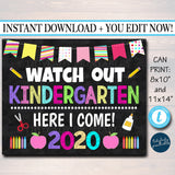 EDITABLE First Day of School Photo Prop Kindergarten Preschool Graduation Decor School Chalkboard Prop, Last Day of School, INSTANT DOWNLOAD