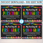 EDITABLE Template Back To School Set, First Day Last Day School Photo Props, Any Grade Chalkboard, Preschool, Kindergarten, INSTANT DOWNLOAD