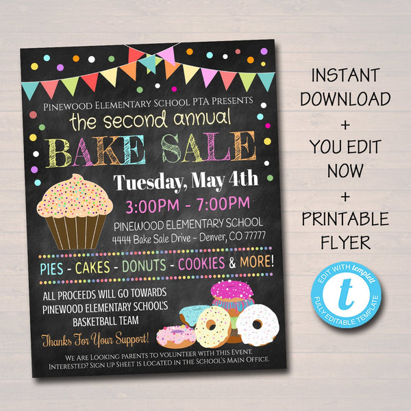 EDITABLE Bake Sale Flyer, Printable PTA, PTO Flyer, School Family Fundraiser Event, Team Sports Center, Church Printable Digital Invitation