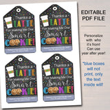 EDITABLE Coffee Cookie Gift Tags, Staff Teacher Appreciation Week Gift, Thanks a Latte For Making Me One Smart Cookie Tag, INSTANT DOWNLOAD