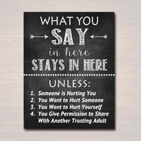 Counseling Office Confidentiality Poster, Counselor Office Decor, Therapist Office, Social Worker Sign, Counselor Gift, What You Say in Here