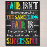 Fair Isn't Getting Same Thing To Be Successful, School Counselor Office, Growth Mindset Classroom Poster, School Decor, Teacher Printables