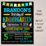 Back to School Chalkboard Sign - Personalized Printable DIY Template