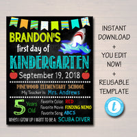 EDITABLE Back to School Photo Prop, Back to School Chalkboard Poster, SHARK FISH School Chalkboard Sign, Any Grade Sign 1st Day of School