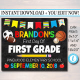 First Day Of School Sign Sports Theme - Personalized Photo Prop Template