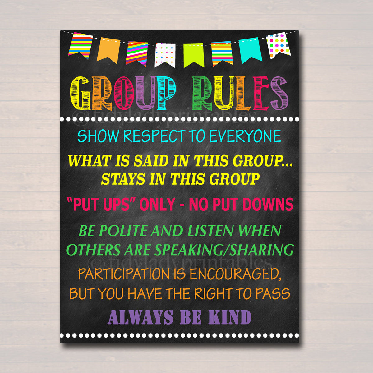Counseling Group Rules Confidentiality Poster Counselor