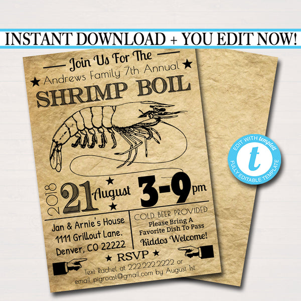 EDITABLE Shrimp Boil Invitation, Low Country Company Picnic, Family Picnic BBQ, Seafood Crawfish Boil, Barbecue Summer Backyard Party Invite