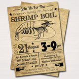 Shrimp Boil Invitation, Low Country Company Picnic, Family Picnic BBQ, Seafood Crawfish Boil, Barbecue Summer Backyard Party Invite