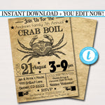 EDITABLE Crab Boil Invitation, Low Country Company Picnic, Family Picnic BBQ, Seafood Crawfish Boil, Barbecue Summer Backyard Party Invite