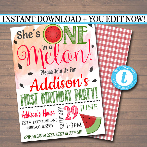 One in a Melon Party Birthday Invitation, Girls First Birthday 1 Year Old Party  Invite, Summer Party Theme