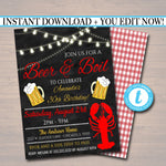 Beer and Boil Invitation, Company Family Picnic BBQ Seafood Lobster Shrimp Boil, Barbecue Backyard Party Birthday Graduation Invite