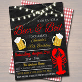 EDITABLE Beer and Boil Invitation, Company Family Picnic BBQ Seafood Lobster Shrimp Boil, Barbecue Backyard Party Birthday Graduation Invite