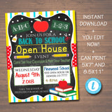 School Open House Event Flyer & Invite - Printable Template