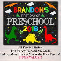 EDITABLE BOY Back to School Photo Prop, Back to School Chalkboard Poster, Dinosaur Prop Chalkboard Sign, Any Grade Sign 1st Day of School