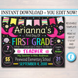 EDITABLE GIRL Back to School Photo Prop, Back to School Chalkboard Poster, MERMAID Chalkboard Sign, Any Grade Sign 1st First Day of School