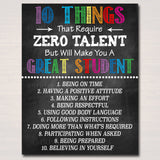 Classroom Decor, High School Teacher Printable Poster, Successful Student Respect Teen 10 Things Zero Talent, Classroom Management Printable
