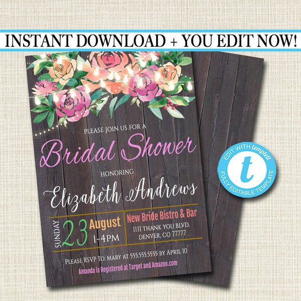 EDITABLE Rustic Floral Bridal Shower Invitation, String Party Lights Wedding Invite, Country Wood Engagement Party Wedding, INSTANT DOWNLOAD
